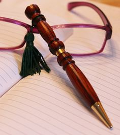Look at this totally great pen. LOOK AT IT!! I want one so badly.   Easter, Bagpipe Drone Pen Coca Bola, 24K gold plated and green tassel , Pen Hand Turned, Men's Gift Women's Gift