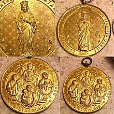 Large Antique MedalHuge religious pendant Signed Constante Rossi, Very Rare very large antique ornate religious medal with Latin writing featuring saints, guardian angel and Mary immaculate.  Front Features The Blessed Mother Virgin Mary with crown and reads: sodalitas immaculatae beatae virginis maria- which means: association of the Immaculate Blessed Virgin Mary. The back features 3 Saints and A guardian angel:  Saint Luis / Louis / Aloisius;  Saint Joannes;  Saint Stanislaus