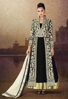 Black Velvet Abaya Jacket Style Churidar kameez: KMR181