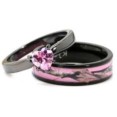 His, Her Black Pink Titanium Camo Heart Stainless Steel Engagement Wedding Rings Camo Engagement Rings, Hunting Wedding Rings, Rustic Wedding Rings, Cheap Wedding Rings, Black Wedding Rings, Titanium Wedding Rings, Engagement Sets, Engagement Ring Settings, Wedding Engagement