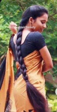 Indian Long Hair Braid, Braids For Long Hair, Beautiful Indian Actress, Beautiful Women, Saree Poses, Super Long Hair, Indian Actresses, Braided Hairstyles, Sari