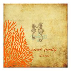 PixDezines Vintage Seahorse+coral Personalized Announcements Discount Dealstoday easy to Shops & Purchase Online - transferred directly secure and trusted checkout...