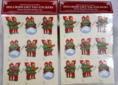 Retro 1930s HOLLIKIDS Gift Tag 18 STICKERS Christmas NEW Vintage art Children