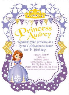 5x7 Disney Princess Sofia the First Birthday Invitation, Sophia the First Birthday Invitation on Etsy, $44.00