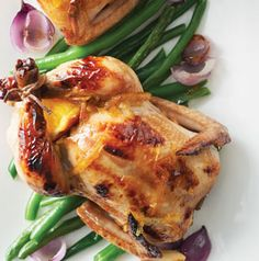 Everybody gets their own tiny hen for Valentine's Day! Orange-Glazed Cornish Game Hens can be made with any citrus fruit you'd like. Apricots would be good too!