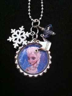 Frozen Disney Necklace Little Girls Necklace Princess Charm Jewelry Winter Snowflake Charm Princess Anna Elsa Birthday Gift Valentines Day