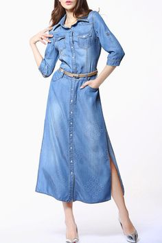 Blue Button Down Side Slit Shirt Dress