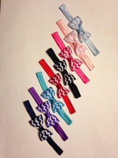 Chevron Headbands - Bow tie Tuxedo Bow on Elastic Headbands Baby Toddler Girl - set of 8 - you choose colors on Etsy, $22.00