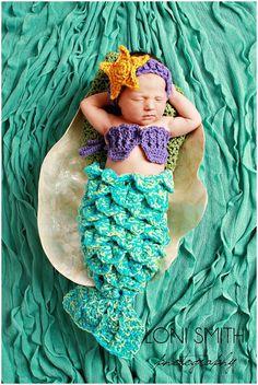 crocheted baby mermaid outfit | Baby Mermaid Set Starfish Headband Shells Tail ... | Tejidos y bordad ...