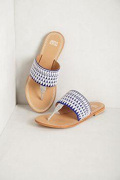 Navy Needlework Sandals