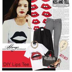 """DIY Lips Tee"" by julietav on Polyvore"