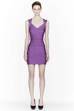 HERVE LEGER Purple Cut-Out Back Bandage Mini-Dress