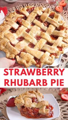 This Strawberry Rhubarb Pie is a summertime classic! A flaky, buttery crust is filled with the perfect combination of sweet, juicy strawberries and tart rhubarb. Top it with a scoop of vanilla ice cream or a dollop of whipped cream! Strawberry Rhubarb Recipes, Rhubarb Desserts, Köstliche Desserts, Delicious Desserts, Strawberry Pie Fillings, Rhubarb Rhubarb, Strawberry Tart, Coconut Recipes, Tart Recipes