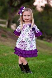 Trish Scully Child Purple Damask Pleated Shift Dress-Designer Girl Clothes Trendy Fashion, Kids Fashion, Fashion Outfits, Fashion Clothes, My Baby Girl, Girly Girl, Girls Designer Clothes, Dear Daughter, Holiday Outfits