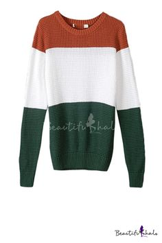 Charming Color Block Round Neck Long Sleeve Sweater