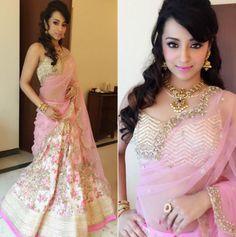 Fashion Lookbook Of Snehas - Trisha In A Dainty Princess Lehenga At A Recent Event - Indiarush