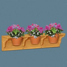 """Clay Pot Holder Pattern:  Great for indoors or out. Securely holds three 7"""" clay pots. 8""""H x 36""""L x 7-1/4""""D Parts Req'd: Wooden Buttons (1) W-235, $.93/each  Pattern #2461  $12.95   (crafting, crafts, woodcraft, pattern, woodworking) Pattern by Sherwood Creations"""