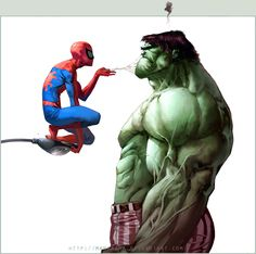 awesome spidey / #hulk illustration by Manarama