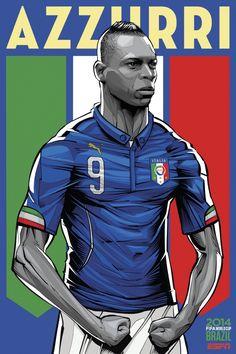 Mario Balotelli. Ilustração de Cristiano Siqueira em campanha da ESPN para a Copa do Mundo 2014.