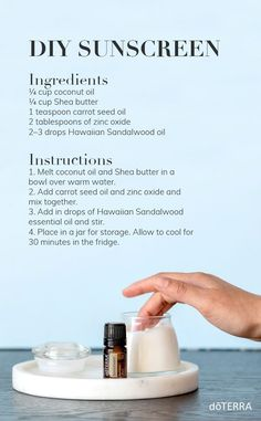 DIY Sunscreen with essential oils If you are looking for a more natural alternative to store-bought sunscreen, try making your own. With this homemade sunscreen, the inclusio Essential Oil Uses, Doterra Essential Oils, Diy Beauty With Essential Oils, Essential Oils Skin Care, Doterra Blends, Homemade Sunscreen, Homemade Deodorant, Oil For Dry Skin, Best Oil For Skin