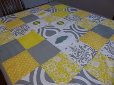 Patchwork Cot / Crib Quilt Made in Australia by SnugglyJacks. Cot or Crib sizes available. Custom made bedding for all budgets. Fun fresh and funky designs for the modern mum! Yellow and Grey