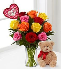 FTD Flowers Valentines Mixed Rose Bouquet with Lovable Bear - 12 Stems with No Vase - http://yourflowers.us/?p=3034