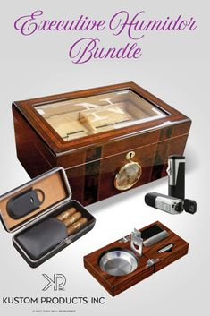 Shop the Customizable bundles & Gift sets from Kustom Products Good Cigars, Cigars And Whiskey, Best Cigar Humidor, Cigar Bar, Travel Humidor, Cigar Gifts, Cigar Ashtray, Cigar Accessories, Pipes And Cigars