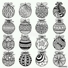 Hand Drawn Christmas Balls Zentangle Style For Coloring Book