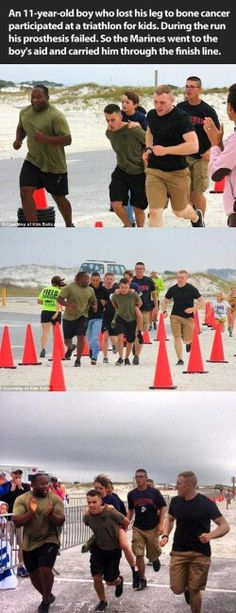 This was a triathlon for kids.  During the run an 11-year-old boy's prosthesis failed, so the marines went to the boys aid and carried him through to the finish line.