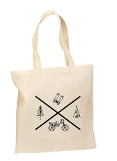 The Adventure Tote, Hand printed, Grocery Bag, Reusable Bag, Screenprinted, Camping, Cotton Tote, Canvas Tote, Shopping Bag, Gift