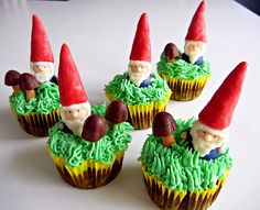 Gnome cupcakes!  These take me back to my favorite show.. David the Gnome.  He was a knowledgeable doctor, loving husband, and rider of foxes.  Did I mention he was pint-sized?