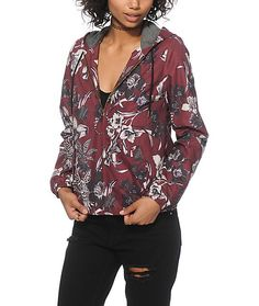 Make sure your style needs are covered rain or shine with this burgundy floral print jacket that features a water resistant exterior that protects against the elements.<br><br><b>Item Available for Pre-Sale, will ship by 7/27.</b>