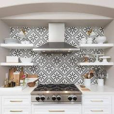 Cooking Alcove with Stacked Floating Shelves