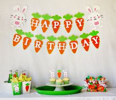 Hoppy Birthday Party Package by Pinwheel Lane on etsy #bunny #carrot #party