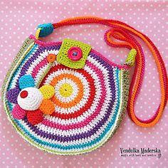 Rainbow colorful crossbody bag applique with big flower :-)