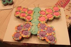 Butterfly cupcake cake. Applesauce cake with a cinnamon whipped cream frosting.