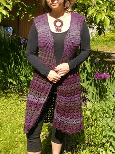 Crocheted long vest