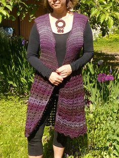 Crocheted long vest