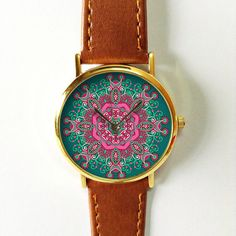Mandala Watch Vintage Style Leather Watch Women by FreeForme