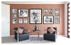A beautiful example of a wall gallery featuring black and white images from Akemi Photography.