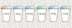 Weekend Vibes | Monday Tuesday Wednesday Thursday Friday Weekend Coffee Cup Pop Art illustration! Friday Weekend, Monday Tuesday Wednesday, Weekend Vibes, Hatch Art, Pop Art Illustration, Coffee Cups, Water Bottle, Lifestyle, Coffee Mugs