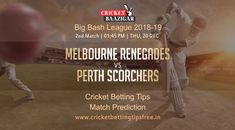 Cricket Baazigar Provide 100% Expert Cricket Match Prediction and Cricket Betting Tips Free Melbourne Renegades vs Perth Scorchers, Big Bash League 2018-19. #cricket #news #betting #Tips #prediction