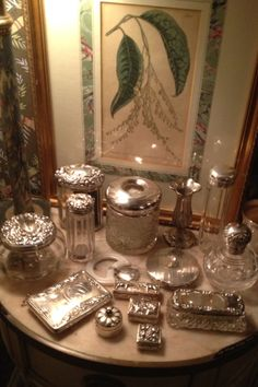 Antique Silver Dresser Jars deserve a glamorous room of their own Antique Vanity, Vintage Vanity, Antique Perfume Bottles, Vintage Perfume, Vanity Decor, Vanity Set, Silver Trays, Silver Plate, Vintage Silver
