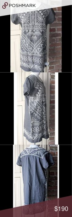 Johnny Was Colette Peasant Tunic 100% linen.  Called a Tunic but can definitely be worn as a dress. Johnny Was Tops Tunics