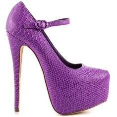 Penny Sue Women's Loyalty - Purple (215 BRL) ❤ liked on Polyvore featuring shoes, pumps, heels, purple, high heel mary jane pumps, purple shoes, purple high heel pumps, purple high heel shoes and snake pumps