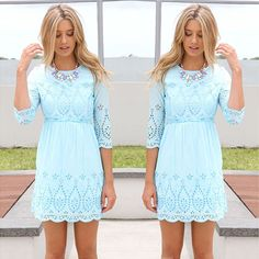 Fashion Half Sleeve Hollow Out Crochet Dress [grxjy56002458]