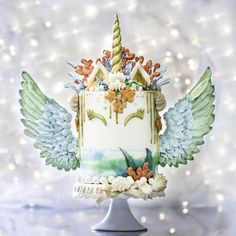 Mermaid Unicorn Cake. ©With Love & Confection | Veronica Arthur I designed this especially for my best friend on her birthday. Wings, seashells, starfish and coral are made of meringue. Isomalt water splashes. I style and shoot all my pics and...