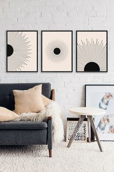 Set of 3 Prints Sun Burst Print Abstract Art Printable Wall Modern Art Prints, Modern Wall Art, Simple Wall Art, Art Prints For Home, Wall Art Sets, Wall Art Decor, Art Deco Wall Art, Mid Century Modern Art, Mid Century Wall Art