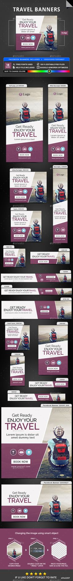 Travel Banners — Photoshop PSD #banners #sales • Available here → https://graphicriver.net/item/travel-banners/19975920?ref=pxcr