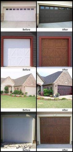 Faux garage doors make a metal garage door look like wood for Faux wood paint garage door